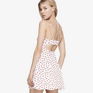 Express Heart Red and White Print Strappy Dress XS